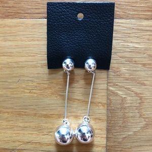 NEW Free People Silver Ball Drop Earrings